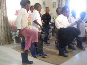 Gumboot dancing with children in Khayelitsha