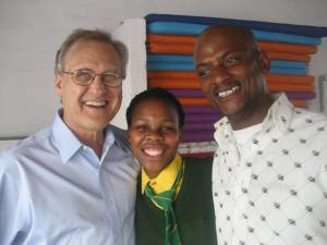Stephen with a gifted young marimba player and Vuyo, a community musician