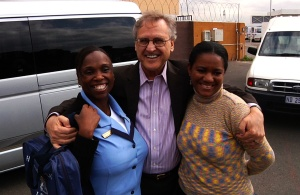 Stephen with Patricia and Nonhlanla, Blue Roof home-based care workers